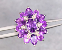 Beautiful Natural Amethyst & 925 Sterling  Silver Ring