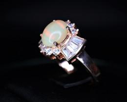 Beautiful Natural Fire Opal, CZ & 925 Rose Gold Stylish Sterling  Silver Ri