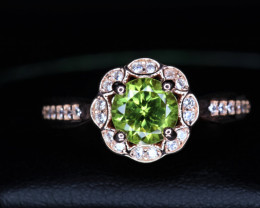Gorgeous Natural Peridot, CZ & 925 Rose Gold Fancy Sterling  Silver Ring
