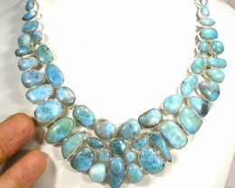 576.0 Tcw. Dominican Larimar / Sterling Silver Necklace - Gorgeous