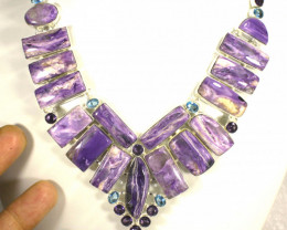 610.0 Tcw. Siberian Charoite, Sterling Silver Necklace - Gorgeous