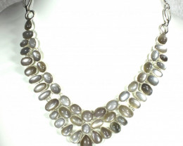417.5 Tcw. Indian Moonstone Sterling Silver Necklace - Gorgeous