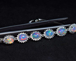 Natural 8 Pieces AAA Multi Fire Opal,CZ  925 Silver Amazing Bracelet