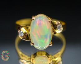 Presenting Rainbow Fire Opal Ring ~ 18 K Gold