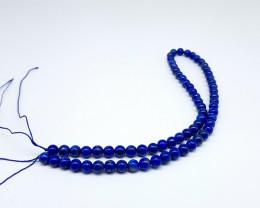 Blue Lapiz Lazuli Beads Necklace 16 Inch Crystal 6mm