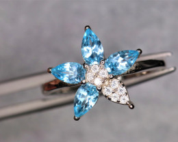 Fabulous Natural Swiss Topaz, CZ & 925 Stylish Sterling  Silver Ring