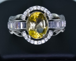 23.20 Crt Natural Citrine 925 Sterling Silver Ring