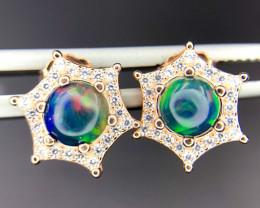 Stunning Fire Opal & CZ 925 Rose Gold Silver Earrings