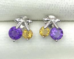 Attractive Amethyst & Citrine 925 Silver Earrings