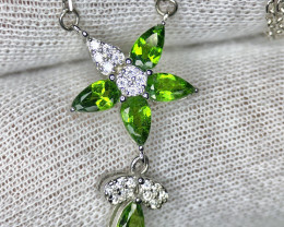 No Reserve-Stunning Chrome Diopside Chain Pendant Necklace Silver 925 Sterl