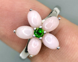 NO RESERVE-Attractive Pink Opal with Diopside Silver 925 Ring