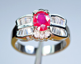 Attractive Glass Filled Ruby,CZ 925 Silver Ring