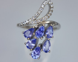 Top Tanzanite Ring in Silver 925 with CZ