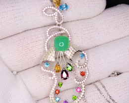 Gorgeous Natural Multi Stones, CZ & 925 Stylish Sterling  Silver Pendant