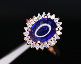 Gorgeous Natural Sapphire,  CZ & 925 Rose Gold Stylish  Sterling  Silver