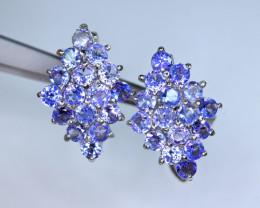 Natural 32Pis Tanzanite 925 Silver Earrings