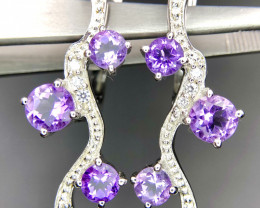 No Reserve - Natural Amethyst & CZ Earrings