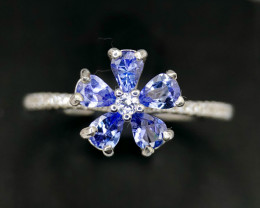 Gorgeous Multiple Natural Tanzanite with CZ Silver 925 Ring