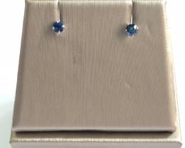 Blue Sapphire 0.25 Cts Silver Earrings