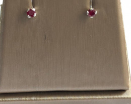 *NoReserve*Natural Red Ruby 0.20 Ct Stylish Silver Earring