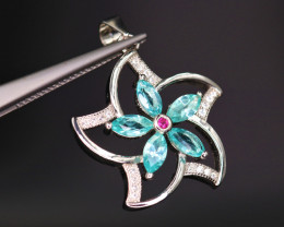 Attractive Natural Apatite, CZ & 925 Stylish Flower Sterling  Silver Pendan