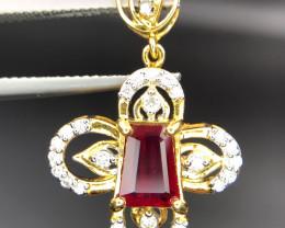 18K Stunning Natural Ruby & Diamond Pendant