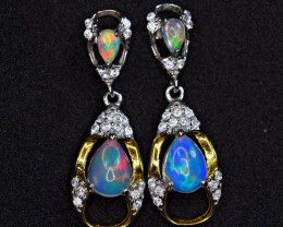 Natural 4Pis Top Fire Opal ,CZ 925 Silver &Yellow Gold Plated Silver Earrin