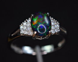 Natural AAA Multi Fire  Opal Cabochon,CZ 925 Silver Amazing Design Ring