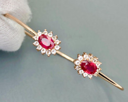 Stunning Ruby with CZ Bangle Bracelet
