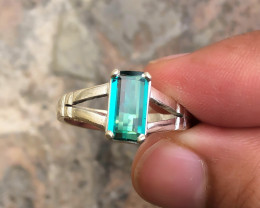 20.60 Ct Natural Blueish Transparent Tourmaline Gemstone Ring Solid Silver