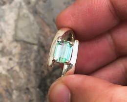 22.20 Ct Natural Green Transparent Tourmaline Gemstone Ring Solid Silver