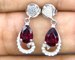Stunning Garnet & CZ Silver Earrings