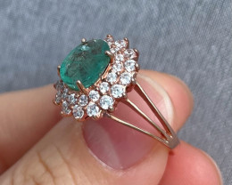 Natural Zambian Emerald Gold Over Sterling Silver F11