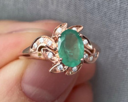 Natural Zambian Emerald Gold Over Sterling Silver F20