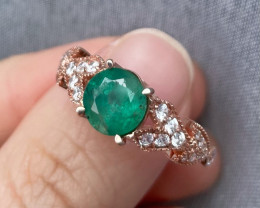 Natural Zambian Emerald Gold Over Sterling Silver F26
