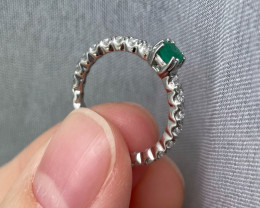 Natural Zambian Emerald Gold Over Sterling Silver F39