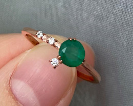Natural Zambian Emerald Gold Over Sterling Silver F40