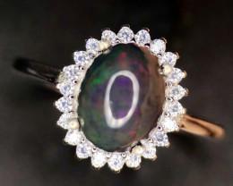 Gorgeous-Opal~Black-Ring-925 CZ