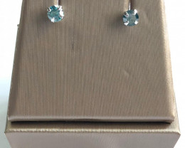 Stylish Natural Blue Diamond 0.52 Cts Silver Earring