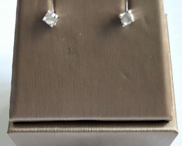 Stylish Natural Diamond 0.34 Cts  Silver Earring