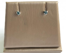 Stylish Natural Blue Diamond 0.19 Cts  Silver Earring