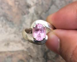 28.05 Ct Natural Pink Transparent Tourmaline Gemstone Ring Solid Silver