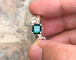 23.15 Ct Natural Indicolite Blue Transparent Tourmaline Gemstone Ring