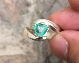 22.25 Ct Natural Paraiba Color Tourmaline Gemstone Ring Solid Silver