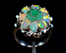 Natural AAA Playing Multi Fire 8Opal Cabochon,9Emerald 925 Silver Amazing R