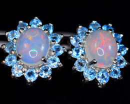 Natural 2Pis Fire Opal ,24Pis Topaz 925 Silver Earrings