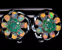 Natural  AAA Top Fire Opal,Emerald925 Silver Earrings