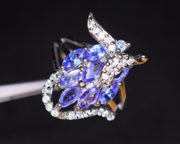 Natural 8 Pieces Tanzanite , CZ 925 Silver Amazing Ring