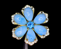 Natural  New Design 6 Pis Larimar,Topaz,CZ925 Silver Ring