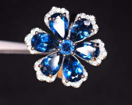 New Design Natural AAA 7Pis London Blue Topaz ,CZ 925 Silver Ring